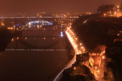 Porto bridge in the night. Portugal Royalty Free Stock Images
