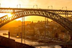 Porto brosolnedgång Royaltyfri Fotografi