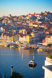 Porto Cable Car. Cable Car Cabins in Porto. Old Town of Porto on the background Stock Photo
