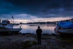 Porto calmo antes da tempestade Foto de Stock