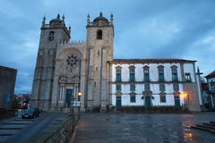 Porto Cathedral at Dusk in Portugal Royalty Free Stock Photos