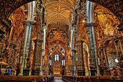 Porto cathedral. Gold Portugal church Royalty Free Stock Photos