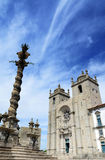 Porto Cathedral with pillar under blue sky,Portugal Stock Photos
