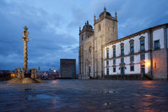 Porto Cathedral and Pillory Column in Portugal Stock Photography