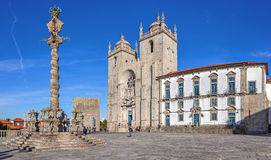 Porto Cathedral or Se Catedral do Porto and the Pillory in the Cathedral Square aka Terreiro da Se. Royalty Free Stock Photo