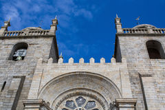 Porto Cathedral Se do Porto against the blue sky. Stock Image