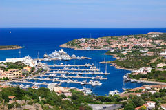 Porto Cervo. Aerial view to Porto Cervo Marina Royalty Free Stock Photography