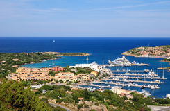Porto Cervo MArina. Aerial view to Porto Cervo Harbour Royalty Free Stock Photography