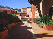 Porto Cervo red houses royalty free stock image