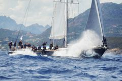 Porto CervoMaxi Yacht Rolex Cup sail boat race. Porto Cervo, Sardinia, ITALY royalty free stock photo