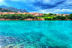 Porto Cervo shore on a cloudy day in hdr Royalty Free Stock Photo