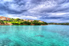 Porto Cervo shoreline on a cloudy day in hdr Stock Photos