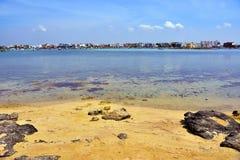 Porto cesareo salento Italy. Island of rabbits isola dei conigli porto cesareo Salento Italy stock photo