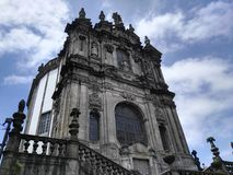 Porto church with blue sky and clouds royalty free stock image