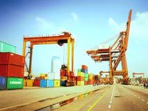 Porto cingalês Enorme e ocupado foto de stock