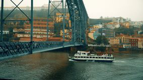Porto, circa 2018: Panoramic view of the old city of Porto. Portugal. The Dom Luis 1 Bridge over the River Douro. Porto, circa 2018: Panoramic view of the old stock video footage
