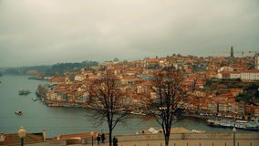 Porto, circa 2018: Panoramic view of the old city of Porto. Portugal. The Metro Train crosses the Dom Luis 1 Bridge over. Porto, circa 2018: Panoramic view of stock footage