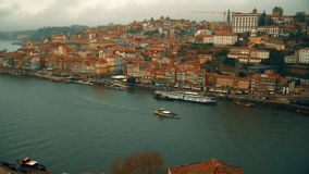Porto, circa 2018: Panoramic view of the old city of Porto. Portugal, Porto Ribeira`s view. Panorama old city Porto at. River Duoro stock footage