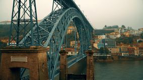 Porto, circa 2018: Panoramic view of the old city of Porto. Portugal. The Dom Luis 1 Bridge over the River Douro. Porto, circa 2018: Panoramic view of the old stock footage