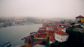 Porto, circa 2018: Panoramic view of the old city of Porto. Portugal, Porto Ribeira`s view. Panorama old city Porto at. River Duoro stock video