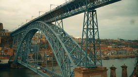 Porto, circa 2018: Rising on the funicular Guindais Funicular, Porto. Panoramic view of the old city of Porto. Portugal. The Metro Train crosses the Dom Luis 1 stock video footage