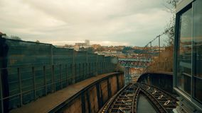 Porto, circa 2018: Timelapse Rising on the funicular Guindais Funicular, Porto. Panoramic view of the old city of Porto. Portugal. The Metro Train crosses the stock footage