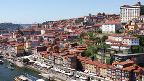 Porto city at bright sunny day. Panoramic view of Porto city with Douro river at bright sunny day, Portugal. Video shot taken from the Dom Luis I bridge stock video footage