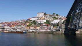 Porto city with Dom Luis I bridge and Douro river. Panoramic view of Porto city with Dom Luis I bridge and Douro river, Portugal stock footage