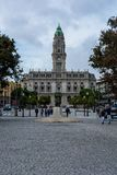 Porto city hall with statue and trees stock photography