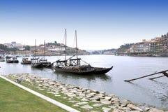Porto city in Portugal. Traditional boats in Porto city in Portugal stock images