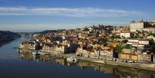 Porto city, Portugal. View of Douro river embankment of Porto city, Portugal stock photo