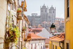 Porto city in Portugal. Cityscape view with beautiful old buildings and Se cathedral in Porto city, Portugal Stock Images