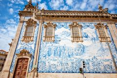 Porto city in Portugal. Facade view on the church wall with famous poruguese blue tiles Azulejo in Porto city in Portugal stock image
