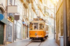 Porto city in Portugal. Street view with famous retro tourist tram in the old town of Porto city, Portugal stock image