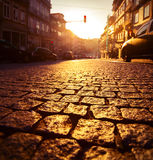 Porto city. Street in the city of Porto at sunrise. Focus on the tiles Stock Image