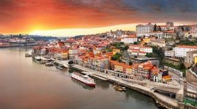 Porto city at sunset, Portugal stock image