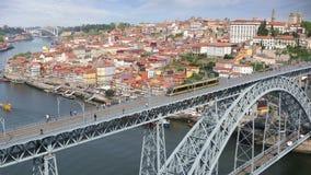 Porto city view with Douro river. Video shot of central part of the Porto city with Douro river and Dom Luis I bridge, Portugal stock video