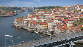 Porto city view, Portugal. Porto city view with Douro river and Dom Luis bridge at sunny summer day, Portugal stock video