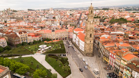 Porto cityscape with famous bell tower of Clerigos Church, Portugal aerial view Royalty Free Stock Photos