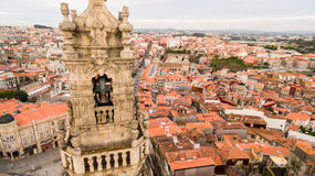 Porto cityscape with famous bell tower of Clerigos Church, Portugal aerial view Royalty Free Stock Images