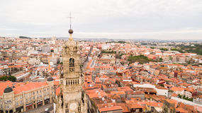 Porto cityscape with famous bell tower of Clerigos Church, Portugal aerial view Royalty Free Stock Photography