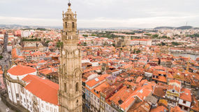 Porto cityscape with famous bell tower of Clerigos Church, Portugal aerial view Stock Photo