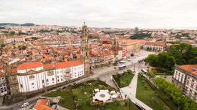Porto cityscape with famous bell tower of Clerigos Church, Portugal aerial view, 17 july 2017 Stock Image