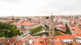 Porto cityscape with famous bell tower of Clerigos Church, Portugal aerial view, 17 july 2017 Royalty Free Stock Photography