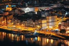 Porto cityscape at night, Portugal royalty free stock image