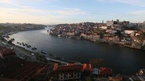 Porto, cityscape over de Douro-Rivier stock video