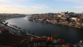 Porto, cityscape over the Douro River. stock video
