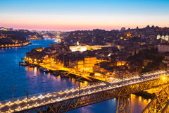 Porto Cityscape Portugal at dusk Royalty Free Stock Images
