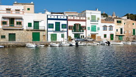 Porto Colom. View on colorful houses in Porto Colom, Majorca Royalty Free Stock Image