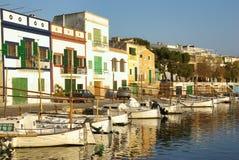 Porto Colom Dock. Picturesque fishermen village in Porto Colom (Majorca - Balearic Islands - Spain Stock Images
